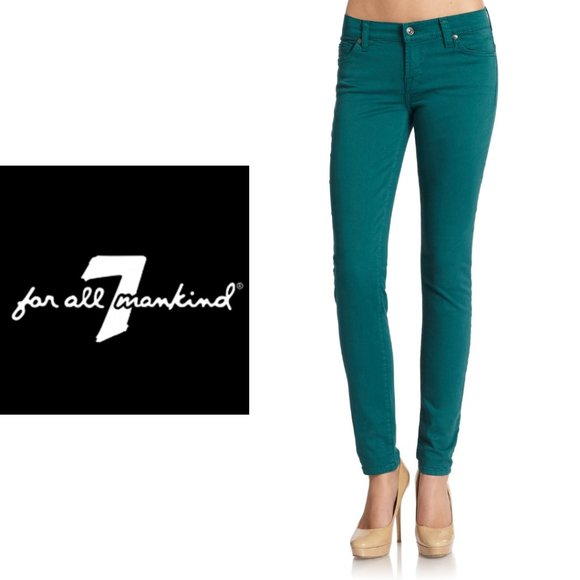 7 For All Mankind Gwenevere Teal Skinny Jeans
